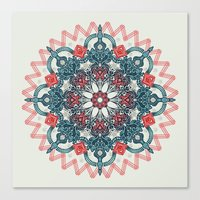 Coral & Teal Tangle Medallion Canvas Print