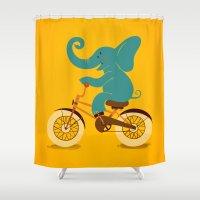 Elephant on the bike Shower Curtain