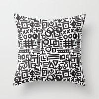 ABSTRACT 4 - BLACK & WHITE Throw Pillow