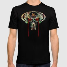 Watercolor Punisher Bat SMALL Black Mens Fitted Tee