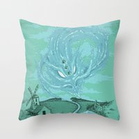 The River's Fierce Ascension Throw Pillow