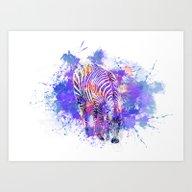 Crazy Zebra Art Print