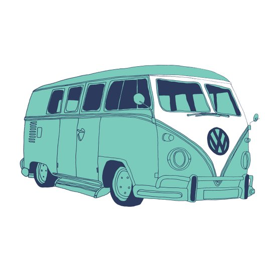 Retro Blues VW Camper Van / Kombi / Volkwagen Art Print