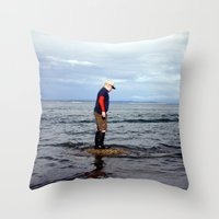 A boy and The Sea 2 Throw Pillow