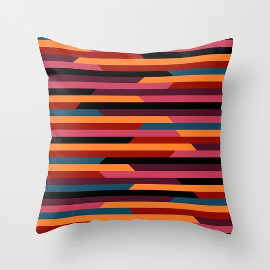 Geometric stripes Throw Pillow