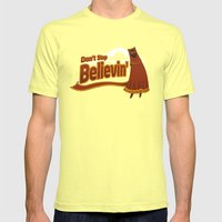 Don't Stop Believin' Mens Fitted Tee Lemon SMALL