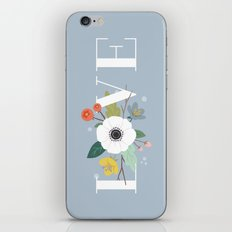 Floral Love - in Dusty Blue iPhone & iPod Skin