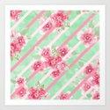 Summer Blossoms Diagonal Stripes Art Print