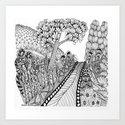 Zentangle Illustration - Road Trip Art Print