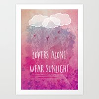 lovers alone wear sunlight Art Print