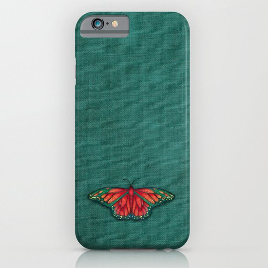 Butterfly in Jewel Colors on Teal Linen iPhone & iPod Case