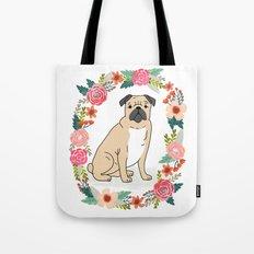 Pug Flower Ring Cute Dog… Tote Bag