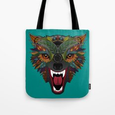 wolf fight flight teal Tote Bag