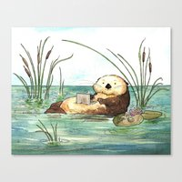 Otter On A Laptop Canvas Print