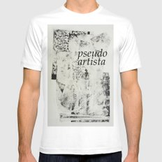 PSEUDOARTISTA White Mens Fitted Tee SMALL