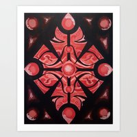 Pattern Red Black Art Print