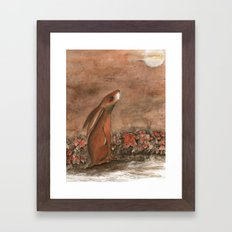 Hare and Moon Framed Art Print