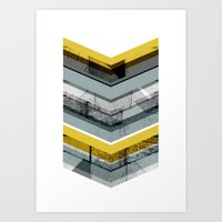 Grey & Yellow Chevron Art Print