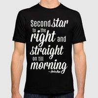 Peter Pan Quote Mens Fitted Tee Black SMALL