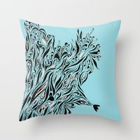 Shrubs in Blue Throw Pillow
