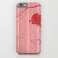 Red stripes on grunge pink background iPhone 6 Slim Case