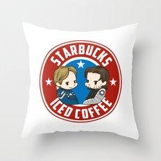 Starbucks - Steve Rogers and Bucky Barnes Iced Coffee  Throw Pillow