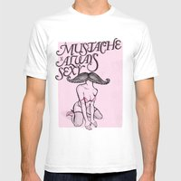 A Mustache is Always Sexy Mens Fitted Tee White SMALL