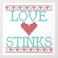 Love Stinks Cross Stitch Art Print