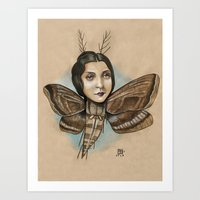 MOTH LADY Art Print