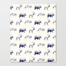Wild Pattern // Blue Canvas Print