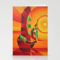 Cubist Junks on A Red Sea Stationery Cards