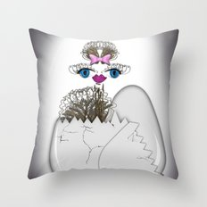 newborn ostrich Throw Pillow