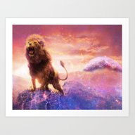 Roaring Space Lion Art Print
