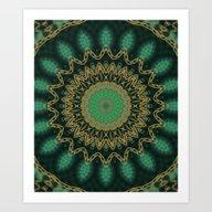Golden Mandala (green) Art Print
