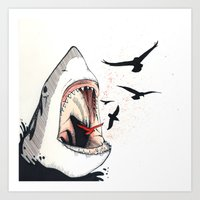 shark Art Prints featuring shark by SOF.T