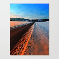Winter Road At Sundown Canvas Print