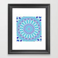 mandala blue Framed Art Print