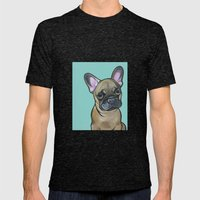 Armand The Frenchie Pup Mens Fitted Tee Tri-Black SMALL