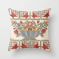 Applique Florals Throw Pillow