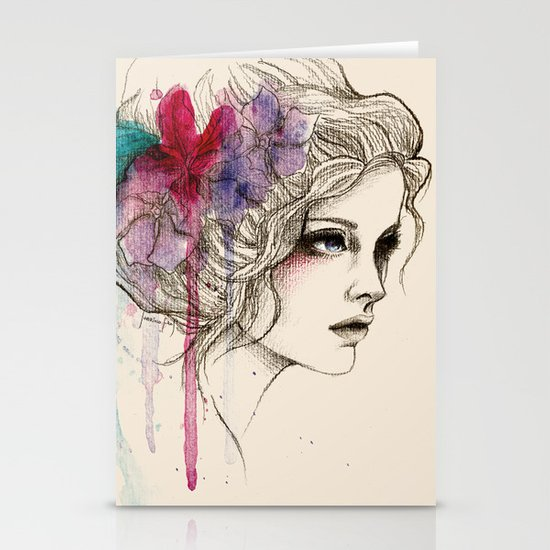 Water Flowers Stationery Card