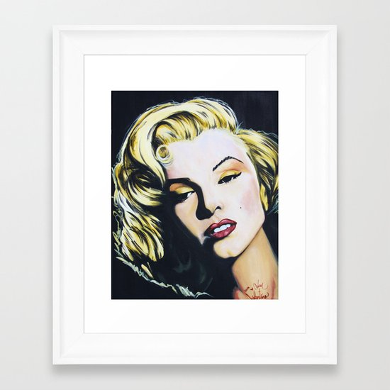 Marilyn Monroe acrylic painting print by Adam Valentino  Framed Art Print