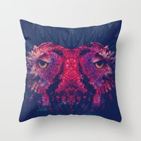 OWLS - Psychedelic | Art | Movement | Pop Art | Abstract | Animals | 70's | Trip  Throw Pillow