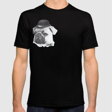 Pug with bowler Mens Fitted Tee Black SMALL