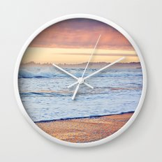 Vibrant Sunset over the Stacks at Huntington Beach, California Wall Clock