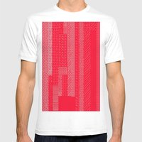 White Over Red Mens Fitted Tee White SMALL