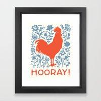 Hooray! rooster large print Framed Art Print