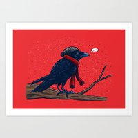 Annoyed IL Birds: The Crow Art Print