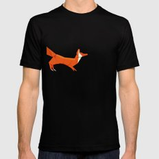 Origami Fox Black Mens Fitted Tee SMALL