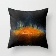 New York City Skyline Hq… Throw Pillow