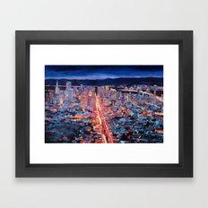San Francisco - Market Street Night from Twin Peaks  Framed Art Print